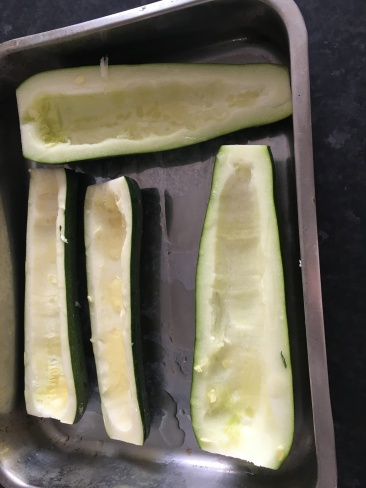 Courgettes in the tin